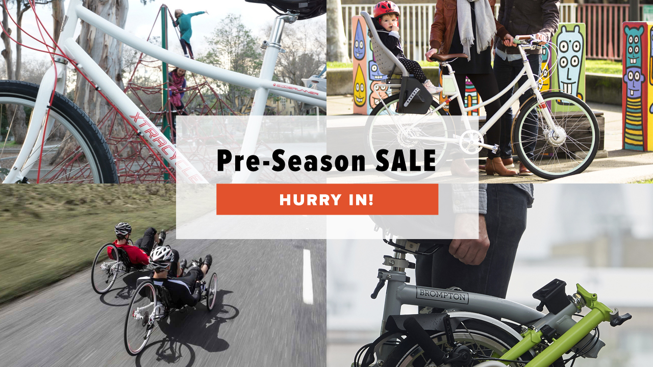 Pre-season sale at Perennial Cycle on Xtracycle, Faraday, ICE Trikes, Brompton, and more!
