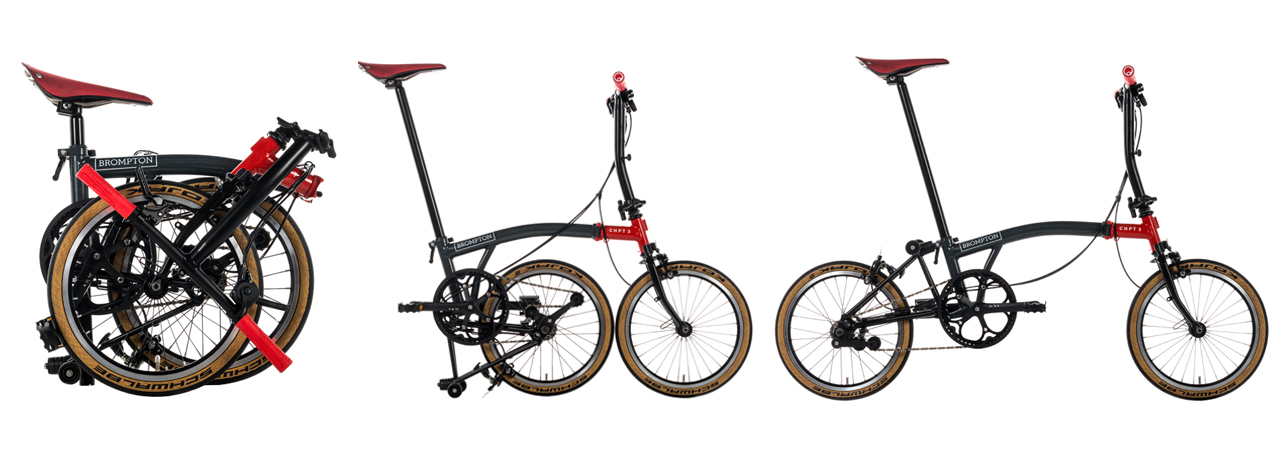 Brompton CHPT3 edition in folded, parked, and riding position