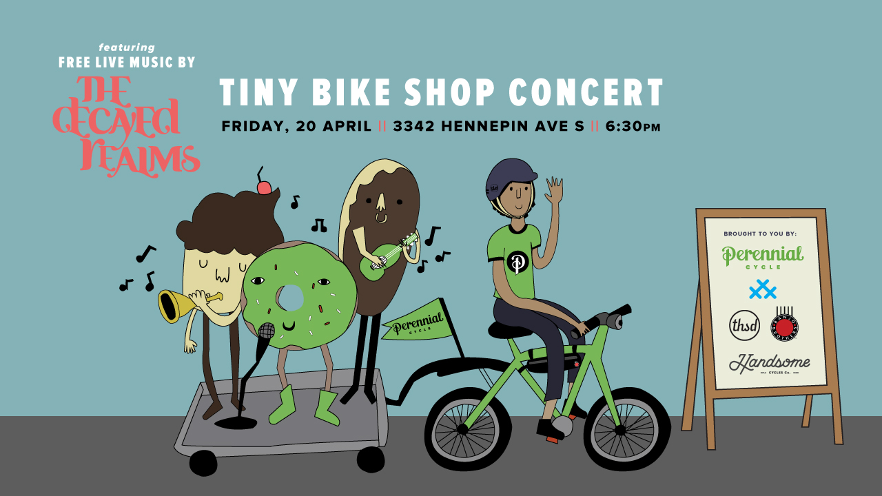 Tiny Bike Shop Concert at Perennial Cycle featuring live music by the Decayed Realms